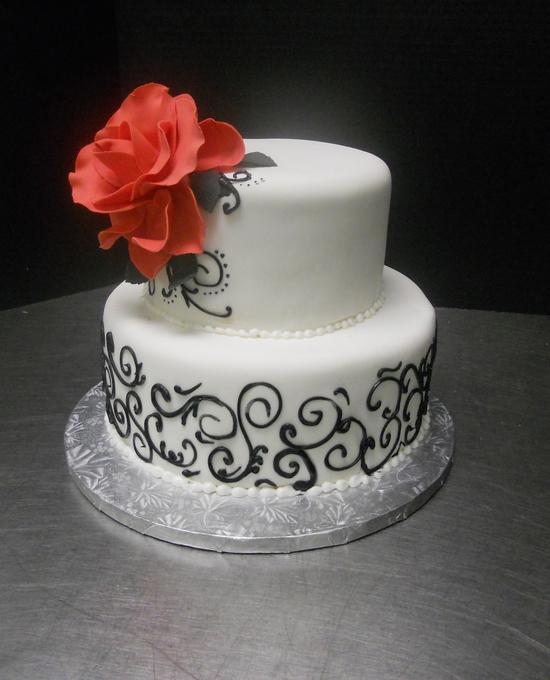 2 Tier Cake - White w/Black Design u0026 Red sugar Rose & 2 Tier Cake - White w/Black Design u0026 Red sugar Rose | Unforgettable ...