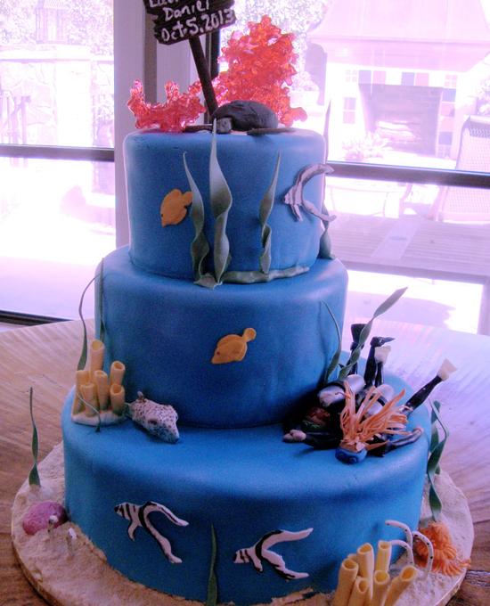 engagement scuba cake