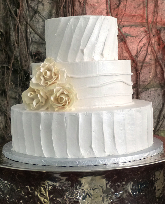 3 Tier Cake -Butter cream textures and sugar flowers ...