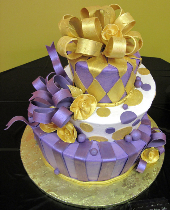 3 Tier Cake - Designed w/Gold and Purple Ribbons | Unforgettable ...
