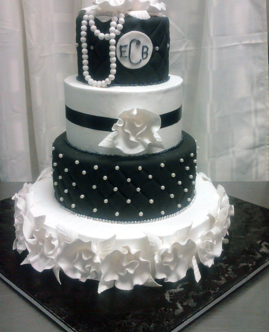 4 Tier Cake Chanel inspired Pearls and Fantasy flowers
