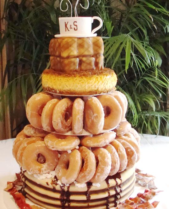 Krispy kreme donuts, pancake,hashbrown,toast and coffee wedding cake